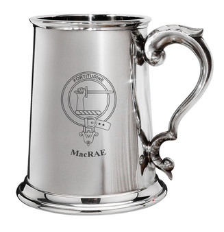 MacRae Family Crest Polished Pewter 1 Pint Tankard with Scroll handle