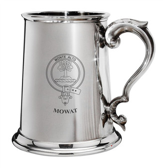 Mowat Family Crest Polished Pewter 1 Pint Tankard with Scroll handle