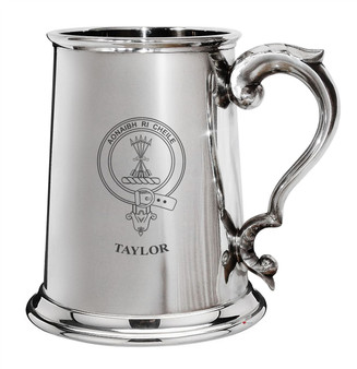 Taylor Family Crest Polished Pewter 1 Pint Tankard with Scroll handle