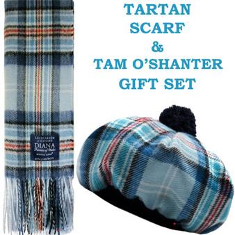 Diana Memorial Tartan Ladies Tammy Hat & Scarf Set Luxury Lambswool