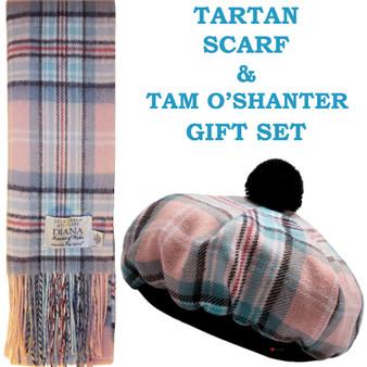 Diana Rose Modern Tartan Ladies Tammy Hat & Scarf Set Luxury Lambswool