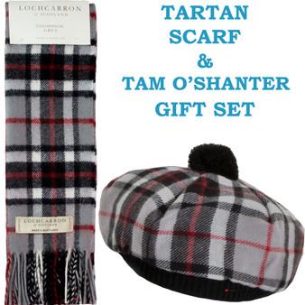 Thompson Grey Tartan Ladies Tammy Hat & Scarf Set Lambswool