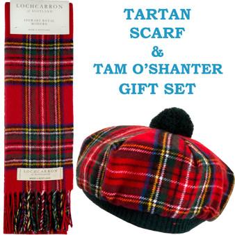 Stewart Royal Modern Tartan Ladies Tammy Hat & Scarf Set Lambswool