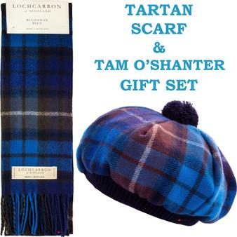 Buchanan Blue Tartan Ladies Tammy Hat & Scarf Set Lambswool