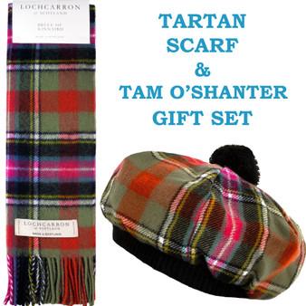 Bruce of Kinnaird Ancient Tartan Ladies Tammy Hat & Scarf Set Lambswool