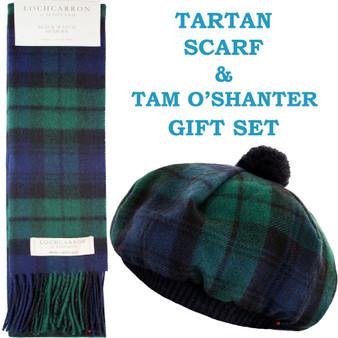 Black Watch Modern Tartan Ladies Tammy Hat & Scarf Set Lambswool