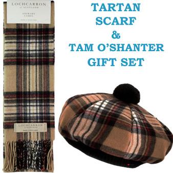 Stewart Camel Tartan Ladies Tammy Hat & Scarf Set Lambswool