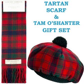 Robertson Red Modern Tartan Ladies Tammy Hat & Scarf Set Lambswool