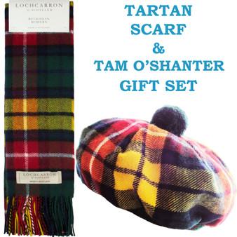 Buchanan Modern Tartan Ladies Tammy Hat & Scarf Set Lambswool