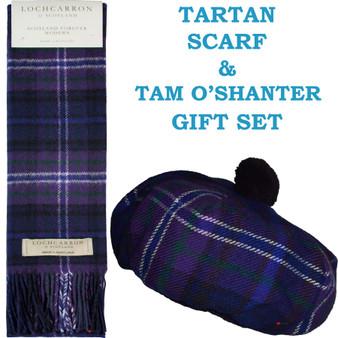 Scotland Forever Modern Tartan Ladies Tammy Hat & Scarf Set Lambswool