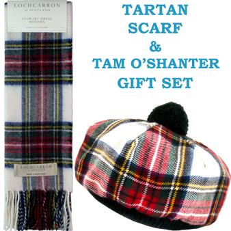 Stewart Dress Modern Tartan Ladies Tammy Hat & Scarf Set Lambswool