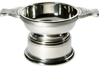 Quaich Scottish Pewter Standard Size 90mm With Plinth Tasting Bowl Ideal Christening Gift