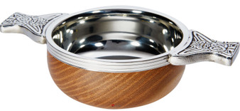 Wood And Pewter Quaich Small Scottish Tasting Bowl Ideal Christening Gift