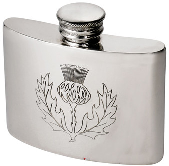 Hip Flask 2oz Scottish Thistle Pewter Kidney Ideal for Engraving