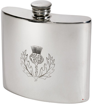 Hip Flask 6oz Scottish Thistle Pewter Kidney Ideal for Engraving