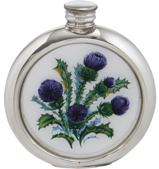 Round Pewter Hip Flask Scottish Thistle Picture 6oz Ideal for Engraving