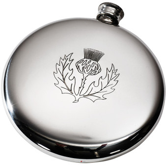 Round Hip Flask Scottish Sporran Flask Thistle  4oz Ideal for Engraving