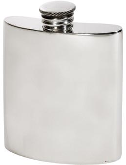 Kidney Shape Flask 3oz Pewter in Plain Polished Finish
