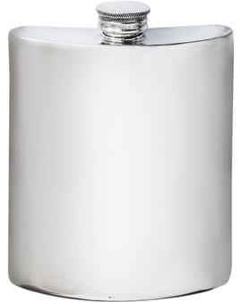 Kidney Shape Flask 6oz Pewter in Plain Polished Finish