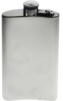 Kidney Shape Flask 8oz Pewter in Plain Polished Finish with Captive Top