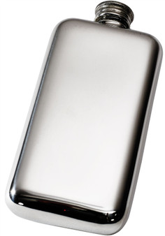 Pocket Hip Flask 3oz Pewter Smooth Rounded with Plain Polished Finish