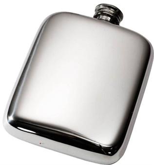 Pocket Hip Flask 4oz Pewter Smooth Rounded with Plain Polished Finish