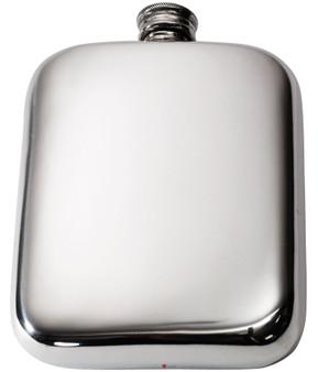 Pocket Hip Flask 6oz Pewter Smooth Rounded with Plain Polished Finish