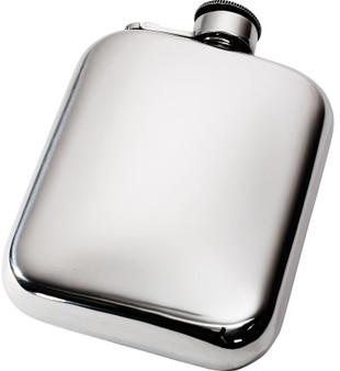 Pocket Hip Flask 6oz Pewter Rounded with Polished Finish and Captive Top