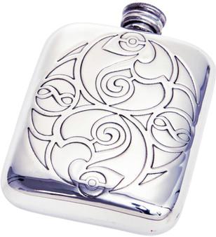 Medium Sized 4oz Pewter Pocket Flask Scottish Celtic Spirals Design