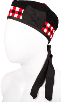 Glengarry Hat Black Red Chequered Diced Design