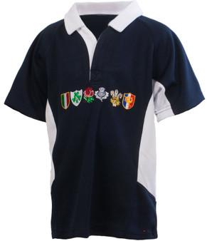 Kids Six Nations Logo Rugby Shirt Scot Navy