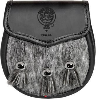 Clan Semi Dress Sporran Plain Leather Flap Scottish Clan Name Crest Tweedie-Yule