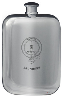 Family Crest Design Pocket Hip Flask 6oz Rounded Polished Pewter Ramsay-Yule