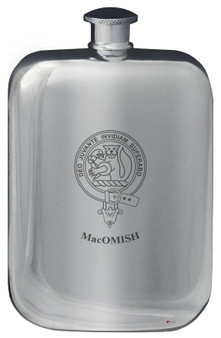 Family Crest Design Pocket Hip Flask 6oz Rounded Polished Pewter MacFall-MacOwl