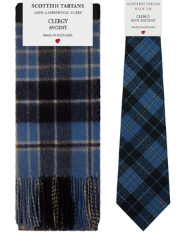 Clergy Ancient Tartan Plaid 100% Lambswool Scarf & Tie Gift Set