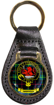 Leather Key Fob Scottish Clan Crest Farquharson Made in Scotland