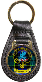 Leather Key Fob Scottish Clan Crest Forsyth Made in Scotland
