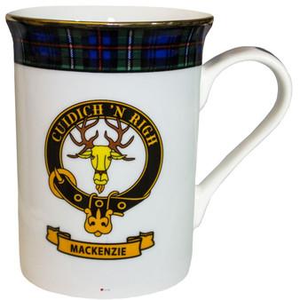 Bone China Coffee Tea Mug MacKenzie Clan Crest Gold Rim Scottish Made