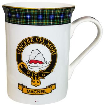 Bone China Coffee Tea Mug MacNeil Clan Crest Gold Rim Scottish Made