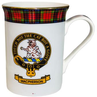 Bone China Coffee Tea Mug MacPherson Clan Crest Gold Rim Scottish Made