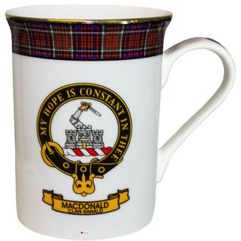 Bone China Coffee Tea Mug MacDonald Clan Ranald Clan Crest Gold Rim Scottish Made