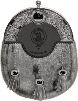 Clan Dress Sporran 3 Tassels Studded Targe Celtic Arch Scottish Clan Name Crest Tweedie-Yule