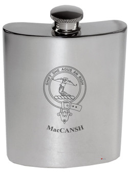 Family Crest 6oz Polished Pewter Kidney Flask Laing-MacGillivantic