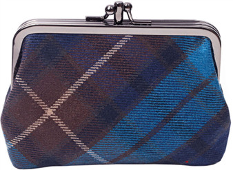 Wool Double Coin Purse Medium Sized Scottish Tartan with Metal Clasp Frame