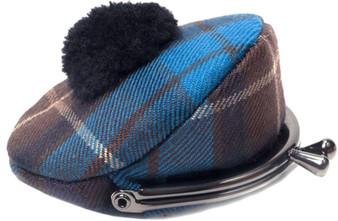 Scottish Wool Tartan Tam O' Shanter Hat Coin Purse with Metal Clasp Frame