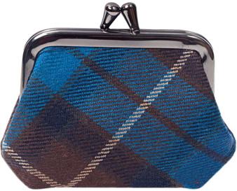 Scottish Tartan Wool Single Coin Purse with Metal Clasp Frame