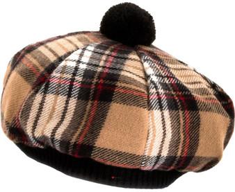 Tammy Hat Stewart Camel Tartan Lambswool