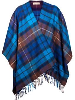 Ladies Shawl Cape Lambswool Buchanan Blue Tartan Made To Order