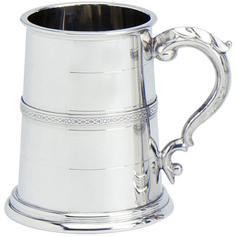 Pewter Tankard Handmade Scottish Stuart Banded Wide Base Polished 1pt Glass Base Great Gift
