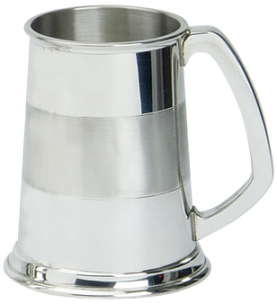 Pewter Tankard Handmade Satin Band Traditional Shape Engravable Great Gift